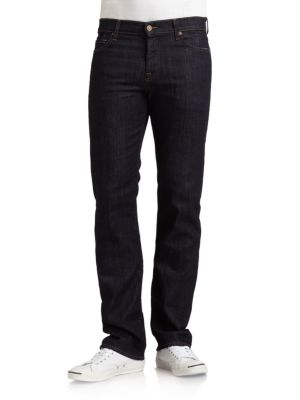 7 For All Mankind Standard Straight Relaxed Fit Jeans In Midnight