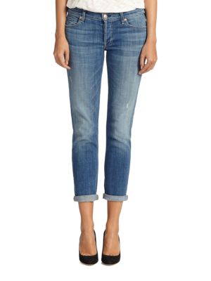 7 For All Mankind Josefina Slim Boyfriend Jeans In Royal Broken Twill