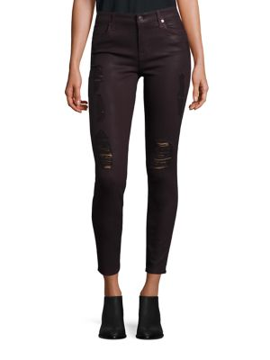 7 For All Mankind The Ankle Skinny Coated Jeans, Plum Destroyed In Coated Distressed