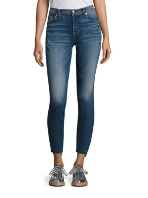 7 For All Mankind Ankle Skinny Jeans With Stem Hem, Distressed Authentic Light In Destroyed Ankle