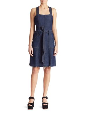 7 For All Mankind Sleeveless Belted Denim Dress, Indigo In Luxe Lounge Deep