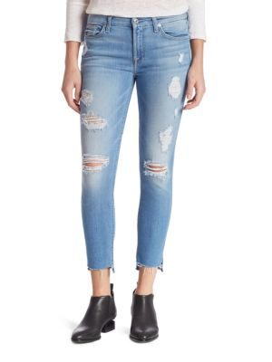 7 For All Mankind Distressed Ankle Skinny Jeans With Step Hem, Indigo