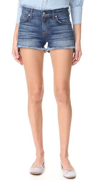 7 For All Mankind Cutoff Denim Shorts W/Step Hem, Blue In Bondi Beach