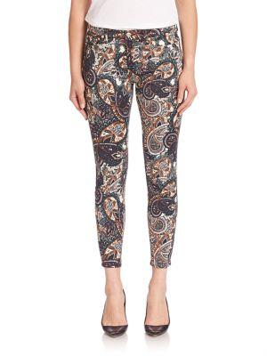 7 For All Mankind The Ankle Skinny Underground Paisley-Print Jeans, Multi In Paisley Brown