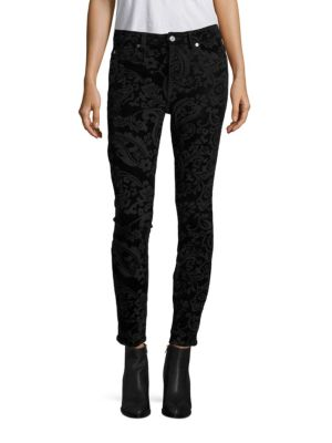 7 For All Mankind Velvet Paisley-Print Ankle Skinny Jeans In Black Velvet Paisley