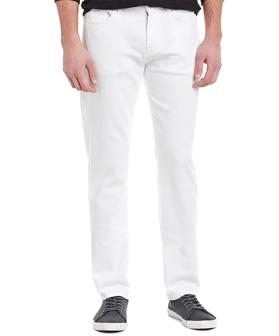 7 For All Mankind Standard Straight Leg Jeans In Beach White