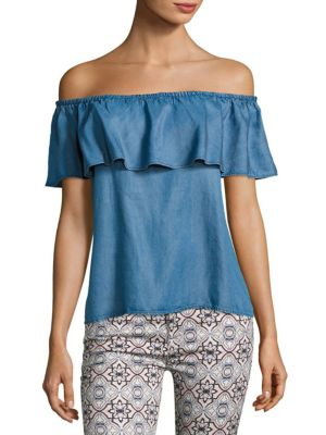 7 For All Mankind Off-The-Shoulder Ruffle Denim Top In Pacific Blue Sky