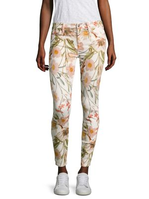 7 For All Mankind The Ankle Skinny Floral-Print Jeans, Multi In Tropical Print