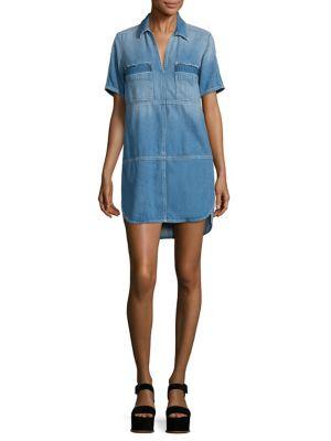 7 For All Mankind Short-Sleeve Popover Denim Dress, Indigo In Luxe Lounge Coastal Blue