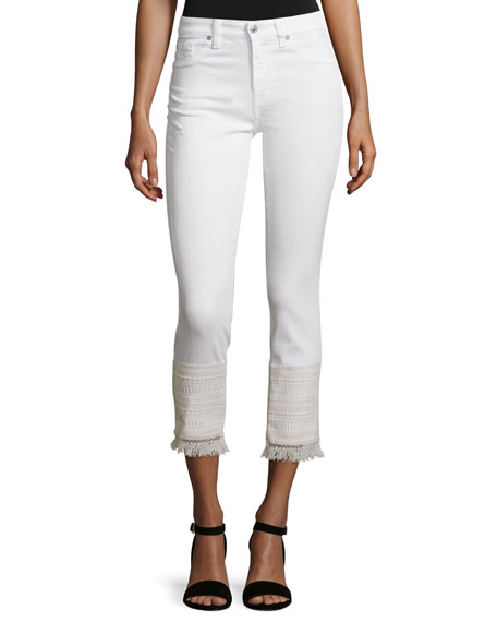 7 For All Mankind The Kiki Jeans W/ Released Hem, White In Luxe Lounge White