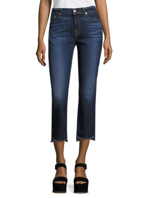7 For All Mankind Cropped Boot Jeans W/ Step Hem, Indigo