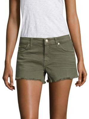 7 For All Mankind Cut-Off Frayed Hem Denim Shorts In Olive