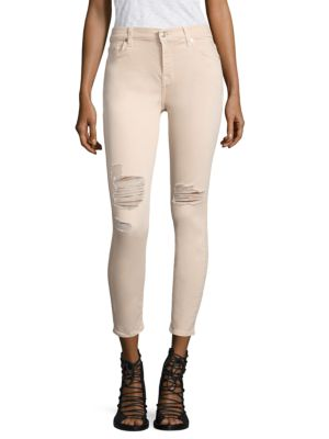 7 For All Mankind The Ankle Skinny Jeans In Mauve In Peony