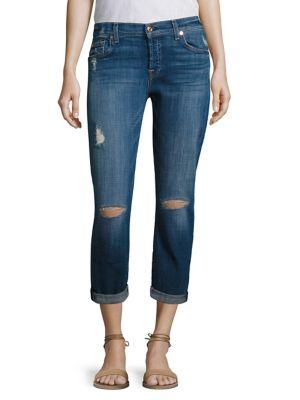 7 For All Mankind Josefina Distressed Slim Boyfriend Jeans, Indigo In Barrier Reef