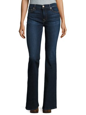 7 For All Mankind Tailorless Dark Wash Bootcut Jeans In Blue