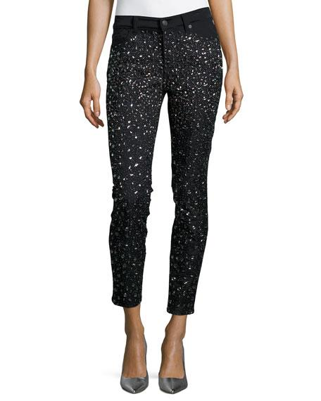 7 For All Mankind Ombre-Crystal Skinny Jeans, Black In Ombre Crystal