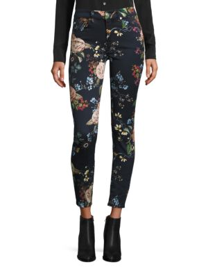 7 For All Mankind The Ankle Skinny Floral-Print Jeans, English Botanical In Blue-Multi