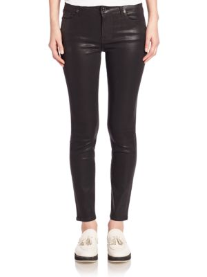 7 For All Mankind The Ankle Skinny Coated Jeans, Plum