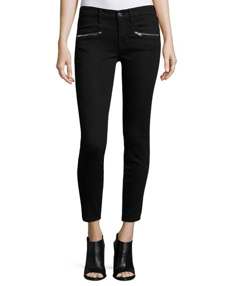 "7 For All Mankind (B)Air"" Ankle Skinny Jeans W/Zip Pockets, Black"""