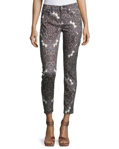 7 For All Mankind The Ankle Skinny Jeans, Swan River Paisley In Gray