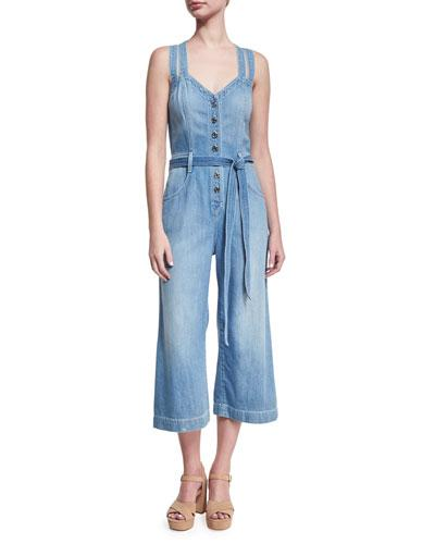 7 For All Mankind Button-Front Sleeveless Cropped Denim Jumpsuit, Indigo