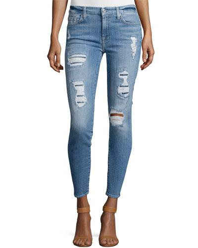 7 For All Mankind The Ankle Skinny Destroyed Jeans W/Sequins, Light Blue