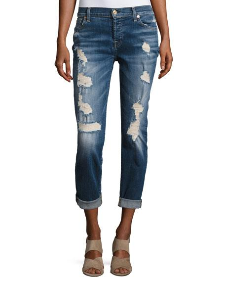 Josefina Relaxed-Fit Distressed Jeans, Blue In Indigo
