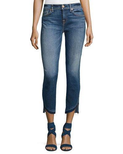 7 For All Mankind Roxanne Ankle Jeans W/ Asymmetric Released Hem, Indigo