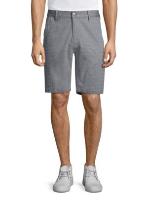 7 For All Mankind Print Chino Shorts In Chambray
