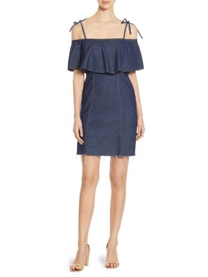 7 For All Mankind Off-The-Shoulder Denim Mini Dress, Blue In Luxe Lounge Deep Blue