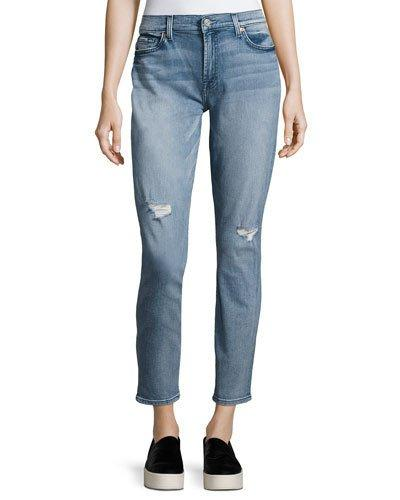 7 For All Mankind Gwenevere Destroyed Ankle Jeans In Light Blue