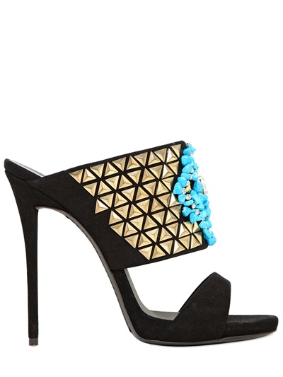 Giuseppe Zanotti Studs & Turquoise Suede Sandals In Black