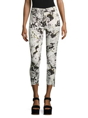 7 For All Mankind Floral-Print Step Hem Ankle Skinny Jeans In Paradise Palms