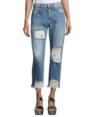 7 For All Mankind Josefina High-Waist Distressed Cropped Boyfriend Jeans In Blue