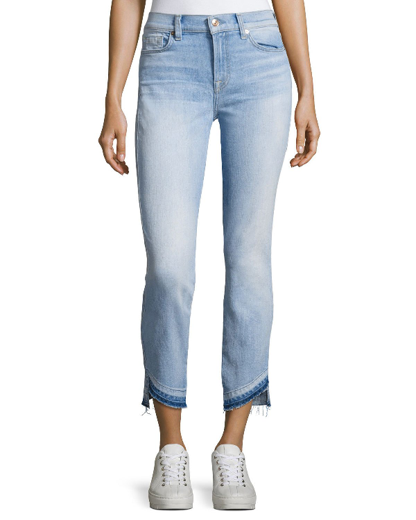 7 For All Mankind Roxanne Ankle Jeans W/ Asymmetrical Released Hem, Indigo