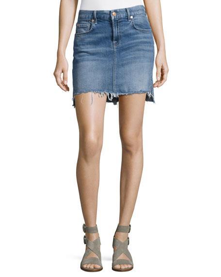7 For All Mankind Pencil Denim Mini Skirt W/ Step Hem, Indigo