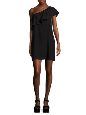 7 For All Mankind One-Shoulder Ruffle Mini Dress, Black
