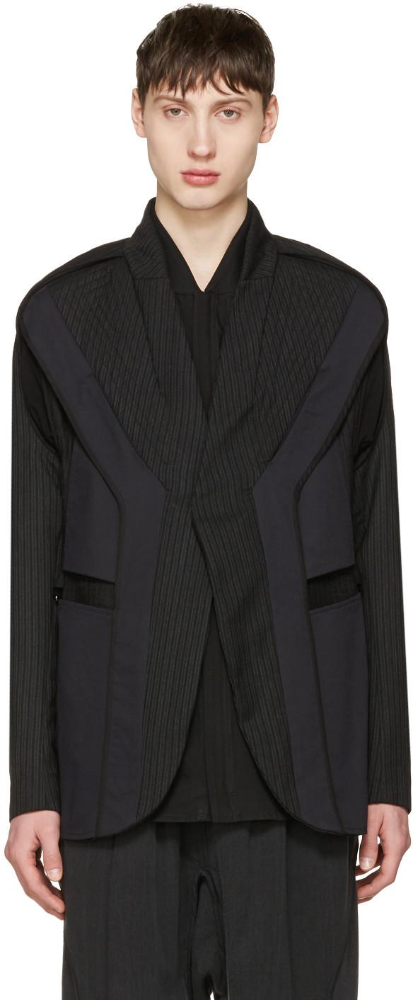 Striped Panel Blazer In Black
