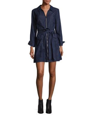 885b59e85e 7 FOR ALL MANKIND. Zip-Front Belted Denim Dress
