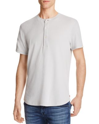 7 For All Mankind Thermal Short Sleeve Henley Tee In Gray