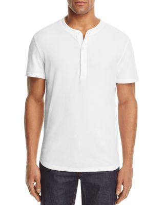 7 For All Mankind Thermal Short Sleeve Henley Tee In White