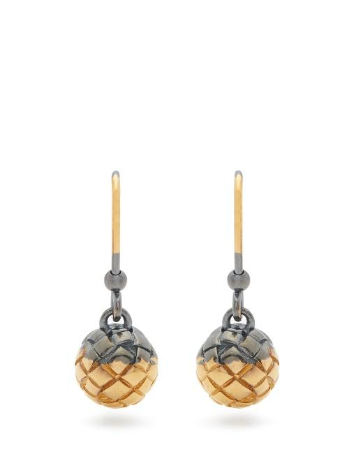 Bottega Veneta Intrecciato-Engraved Oxidised-Silver Earrings In Gold