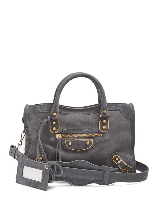 Balenciaga Small Grey Suede Classic City Bag