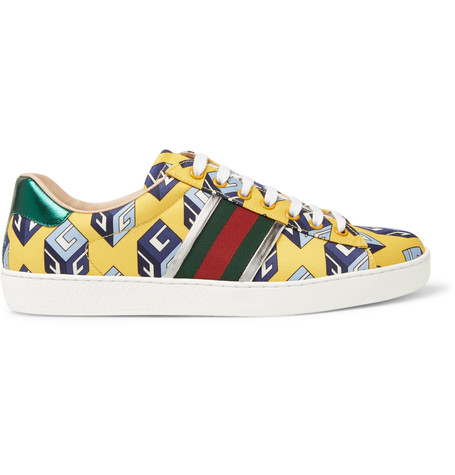 f26661242f8 Gucci Ace Metallic Leather-Trimmed Printed Satin Sneakers