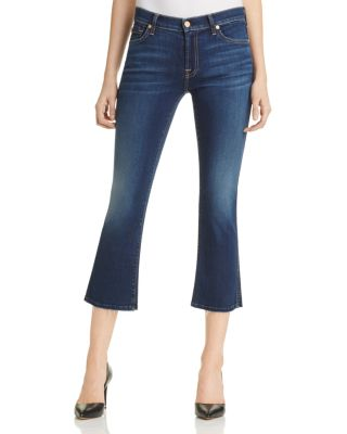 7 For All Mankind New Luxe Cropped Boot-Cut Jeans With Raw Hem, B(Air) Duchess In Indigo