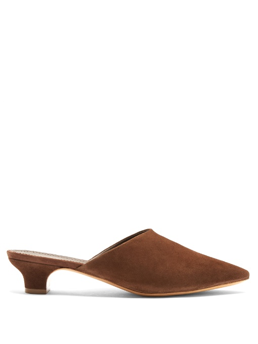Mansur Gavriel Point-Toe Suede Mules In Dark Brown