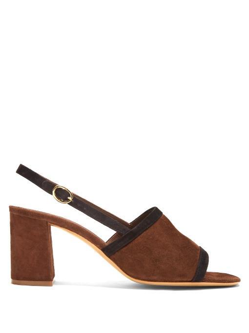 Mansur Gavriel Bi-Colour Suede Block-Heel Sandals In Dark Brown