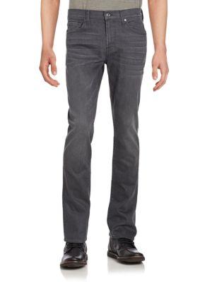 7 For All Mankind Slimmy Washed Five-Pocket Jeans In Porter Grey