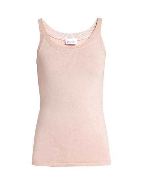 La Perla Scoop-Neck Stretch-Silk Pyjama Tank Top In Light Pink