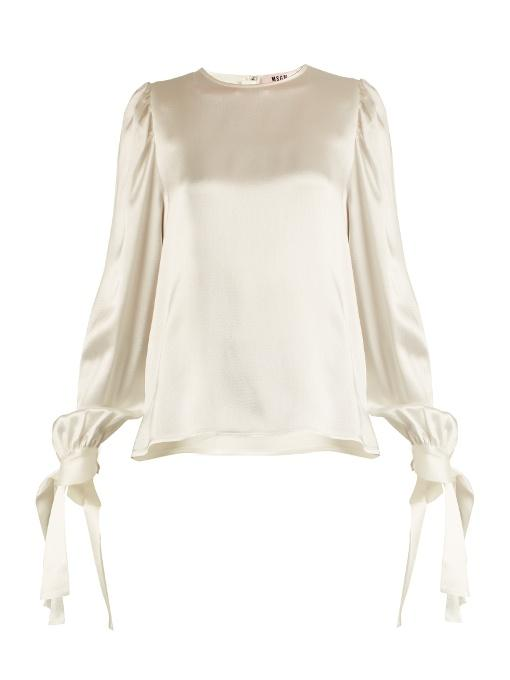 Msgm Hammered-Silk Blouse In Ivory